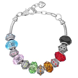 Pink Box Double Rhodium-plated Multicolored Bead European Charm Bracelet