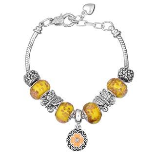 Pink Box Double Rhodium-plated Yellow Bead European Charm Bracelet