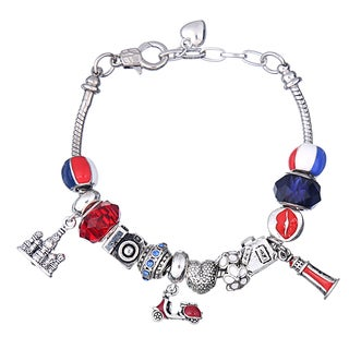 Pink Box Double Rhodium-plated Red, White and Blue Bead European Charm Bracelet