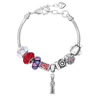Pink Box Double Rhodium-plated British Bead European Charm Bracelet