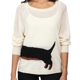 French Connection Ivory Sausage Dog Wool Scoop Neck Sweater