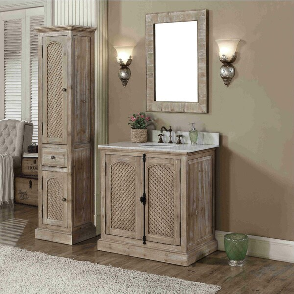 Rustic Style Carrara White Marble Top 36 Inch Bathroom Vanity With Matching Wall Mirror And