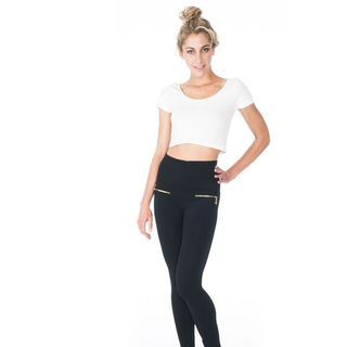 Soho Junior High Waisteband Legging with Front Zippers