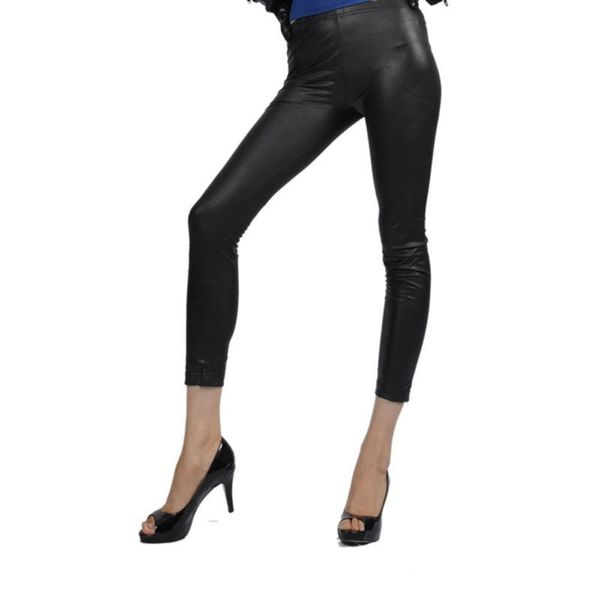 Soho Black Junior Metallic Liquid Wrinkle Leggings