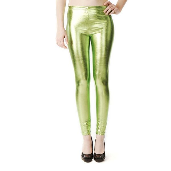 Soho Lime Junior Shiny Metallic Liquid Leggings