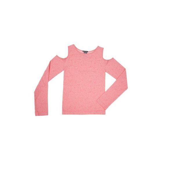 Soho Junior Floral Print Long Sleeve Open Shoulder Top