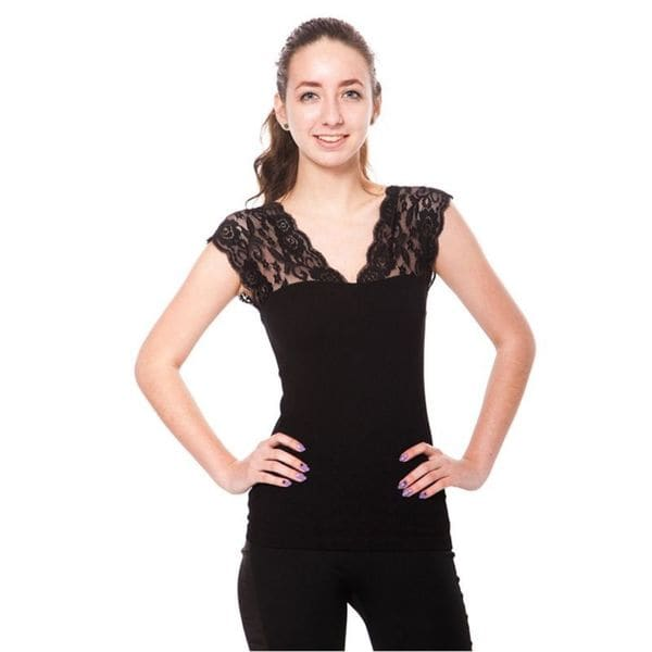 Soho Junior V Neck Floral Lace Shoulder Sleeveless Top