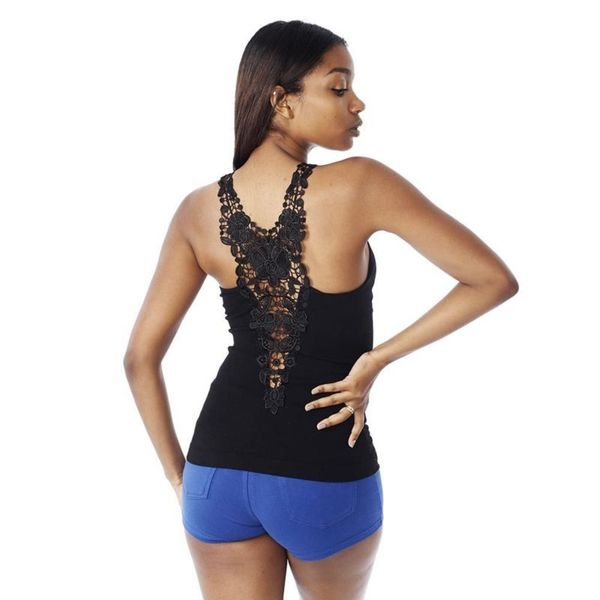 Soho Junior Floral Lace Back Embroidery Tank Top