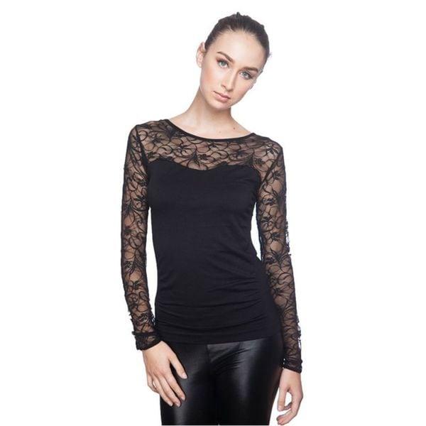 Soho Junior Upper Sheer Lace Back Long Sleeve Top