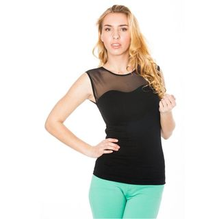 Soho Junior Mesh Neck Sleeveless Top