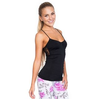 Soho Junior Upper Back Floral Sheer Lace Camisole Top