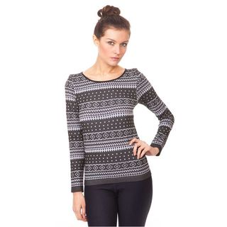 Soho Junior Scoop Neck Winter Print Long Sleeve Top