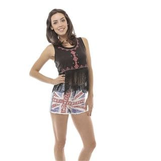 Soho Women's Black/ Pink Sleeveless Embroidered Tribal Fringed Crop Top