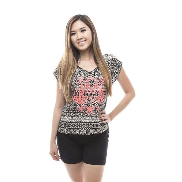 Soho Women's Black Short Sleeve Print Open Back Top
