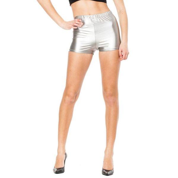 Soho Junior Silver High Waisted Shiny Liquid Shorts