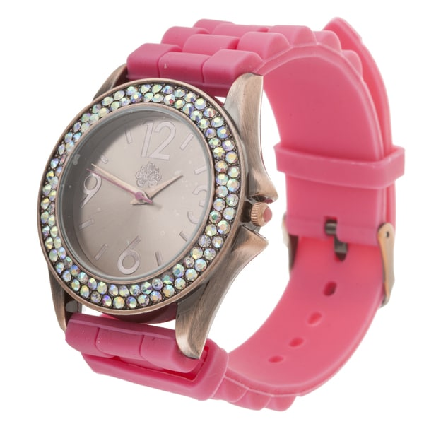 Walflower Ladies Collection with CZ ring Case / Pink Rubber Strap Watch