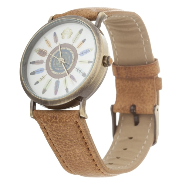 Walflower Ladies Collection with Flower Design Dial / Brown Leather Strap Watch
