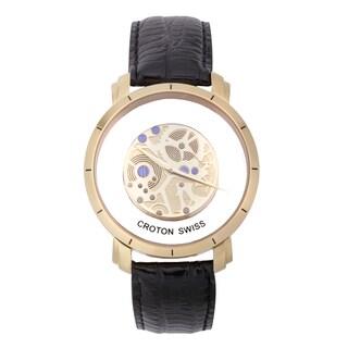 Croton Men's CN307546BSYL Stainless Steel Goldtone See Thru Dial Watch
