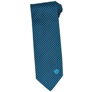 Versace 100-percent Italian Silk Criss-cross Stripe Bead Neck Tie