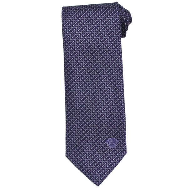 Versace 100-percent Italian Silk Purple/ Grey Criss-cross Neck Tie