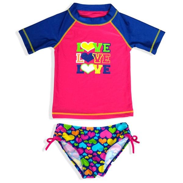 Jump'N Splash Girl's 'Love' Rash Guard Set