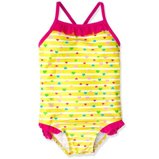 Jump'N Splash Small Girls Yellow Hearts Crossback One-piece Swimsuit