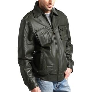 Men's Olive Lambskin Leather Bomber Jacket