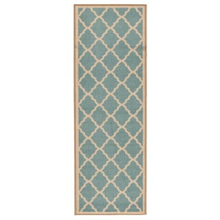 Ottomanson Prestige Collection Teal Blue Contemporary Moroccan Trellis Design Runner Rug (2'3 x 6')