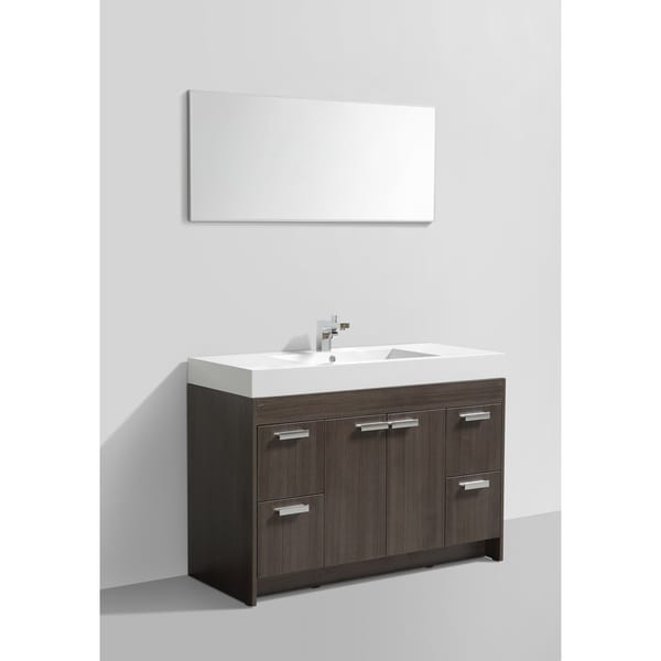Eviva Lugano White Integrated Acrylic Sink Grey Oak Modern 48-inch Bathroom Vanity