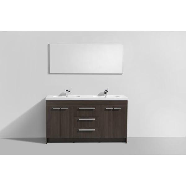 Eviva Lugano White Integrated Acrylic Double Sink Grey Oak Modern 60-inch Bathroom Vanity