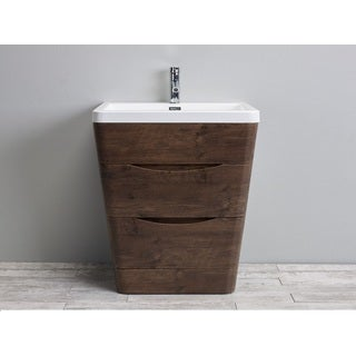 Eviva Victoria White Integrated Acrylic Sink Rosewood Modern 31-inch Bathroom Vanity