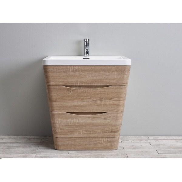Eviva Victoria White Integrated Acrylic Sink White Oak Modern 31-inch Bathroom Vanity