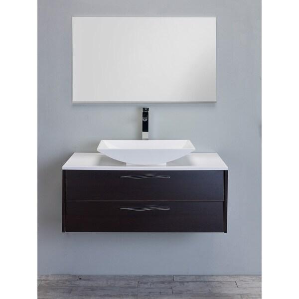 Eviva Zenvi Overmount White Acrylic Sink Wenge (Dark Brown) Modern 39-inch Wall-mount Bathroom Vanity