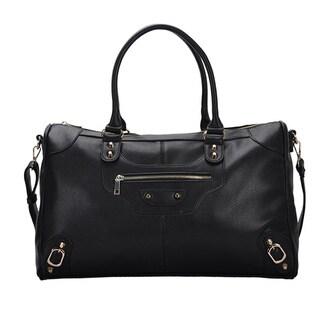 Mechaly Women's Macie Black Vegan Leather Weekender Handbag