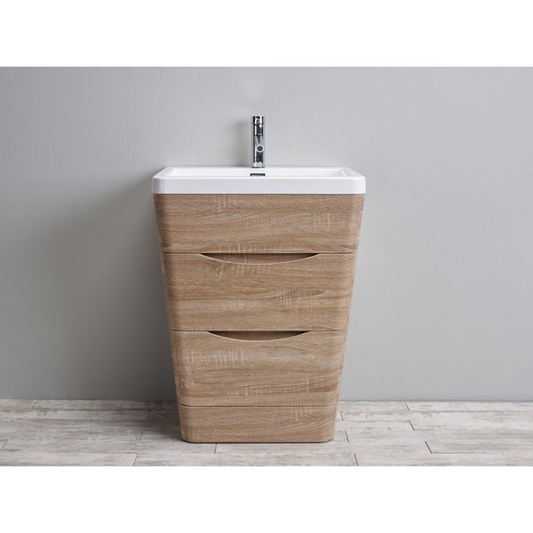 Eviva Victoria White Integrated Acrylic Sink White Oak Modern 25-inch Bathroom Vanity