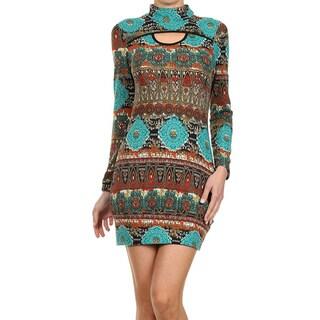 MOA Collection Women's Turtleneck Mandala Print Dress