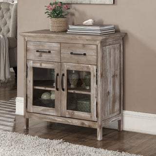 Rustic Style Wood Top 32.5-inch Storage Console with Glass Doors