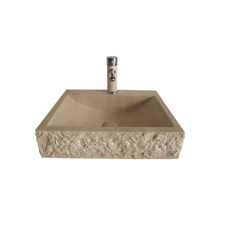 Galala Natural Marble Vessel Sink Bowl with Matching Faucet and Drain