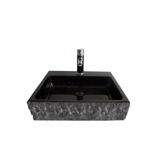 Black marquine Stone Vessel Bowl with Matching Faucet and Drain