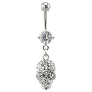 Supreme Jewelry Dangling Skull with Clear Stone Belly Ring