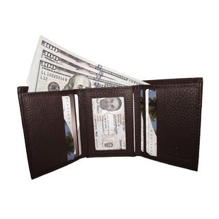 Continental Leather Men's Trifold Wallet with Inside Window ID