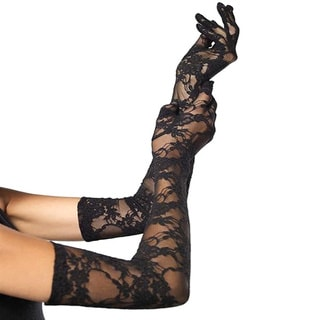 Black Lace Elbow Length Gloves