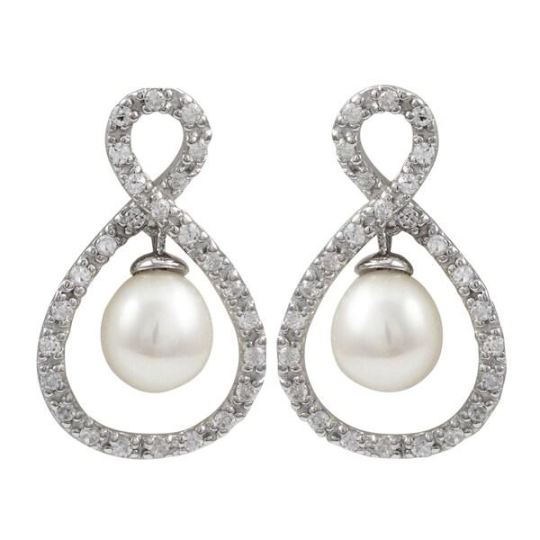 Sterling Silver Cubic Zirconia Freshwater Pearl Infinity Earrings
