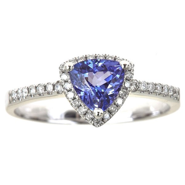 Anika and August 14K White Gold Trillion-cut Tanzanite and 1/6ct TDW Diamond Ring Size 7 (G-H, I1-I2)