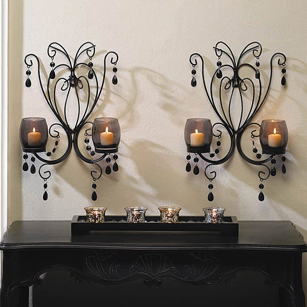Romantic Elegant Glowing Candle Wall Sconces (Set of 2) 16967459