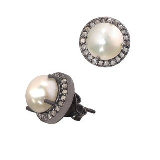 Pori Black Rhodium-plated Sterling Silver Fresh Water Pearl and 1/3ct TDW Champagne Diamond Stud Earrings