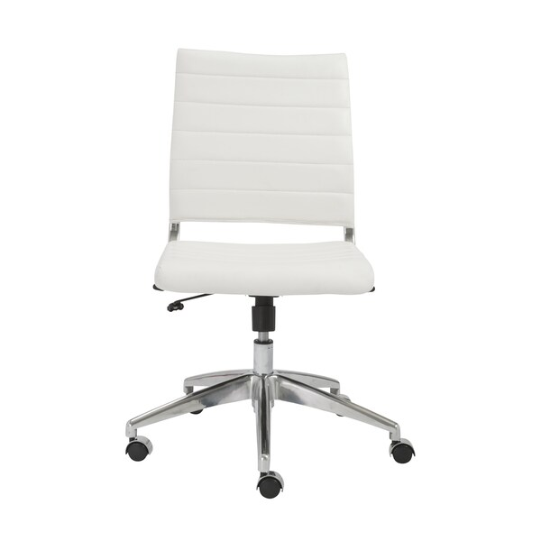 Axel White/ Aluminum Low Back Armless Office Chair 16967565