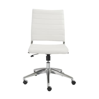 Axel White/ Aluminum Low Back Armless Office Chair