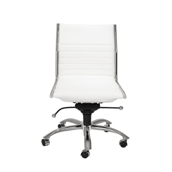 Dirk White/ Chrome Low Back Armless Office Chair 16967654