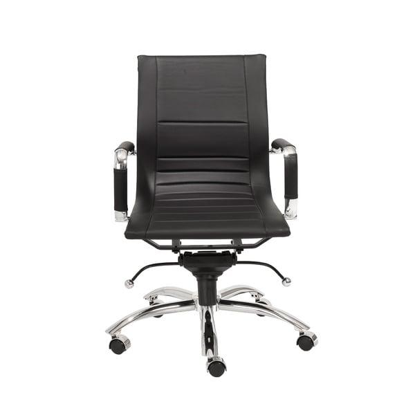 Owen Black Leatherette/ Chrome Low Back Office Chair